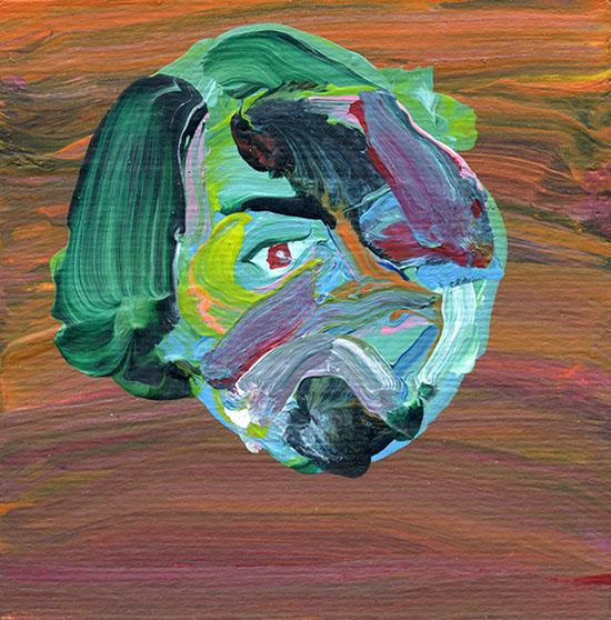 From Self Portrait series/acrylic on cardboard/10.10 cm/2013