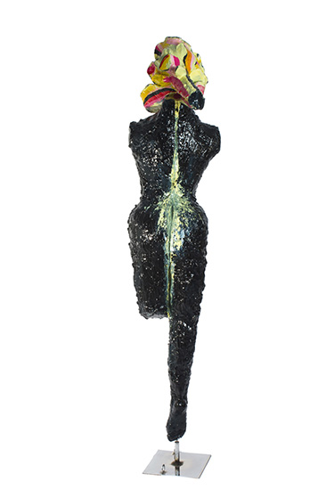 Woman from No Mind series/metal, plaster, fiberglass, synthetic resin, chromed metal, stainless steel, acrylic with transparent color coating/ 40.30.184 cm/2013