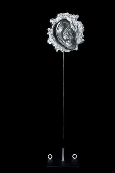 The ear from No Mind series/metal, plaster, synthetic resin, stainless steel, car paint/40.30.120 cm/2012