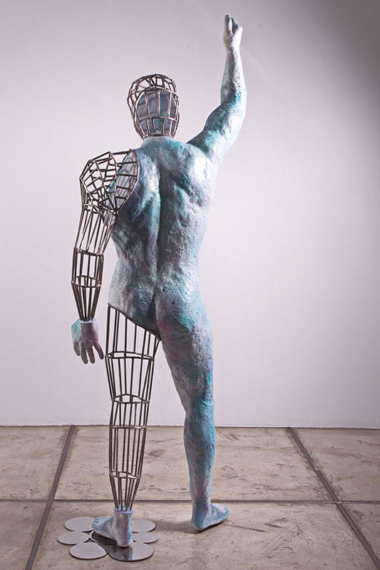 The Self Portrait from Beyond me series/Metal, stainless steel, Fiberglass, Synthetic Resin , Acrylic Spray Paint/ 70.50.195cm/ 2015