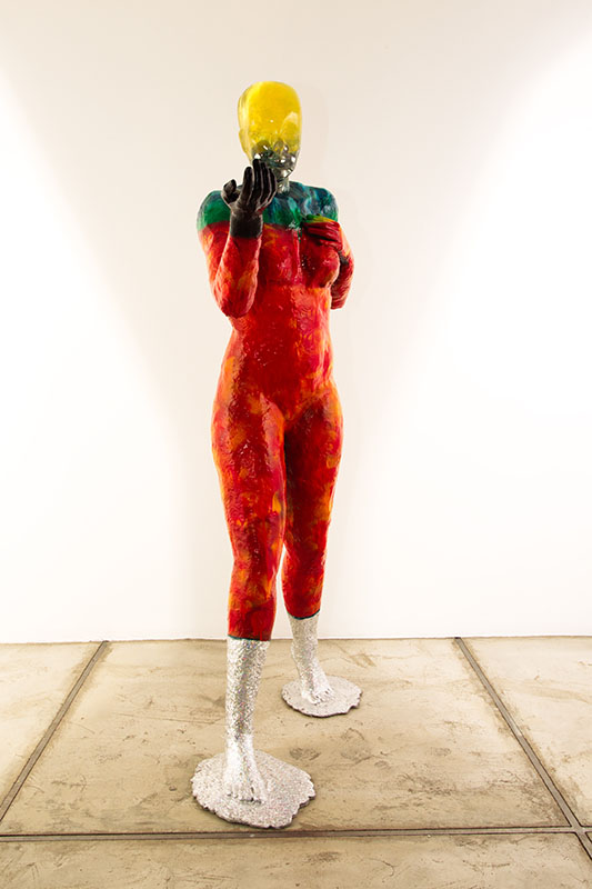 The human being from Beyond me series/Metal, Fiberglass, Synthetic Resin, Epoxy,Stainless Still Ball, Acrylic Spray Paint with Cold Foil Stamping /90.30.165cm /2015