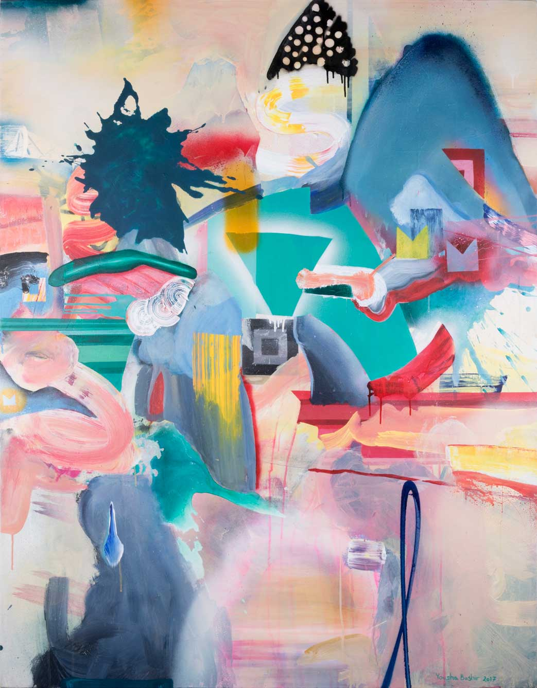 Untitled from Outer Landscapes series/ Acrylic and spray paint on canvas/ 154.120cm/ 2017